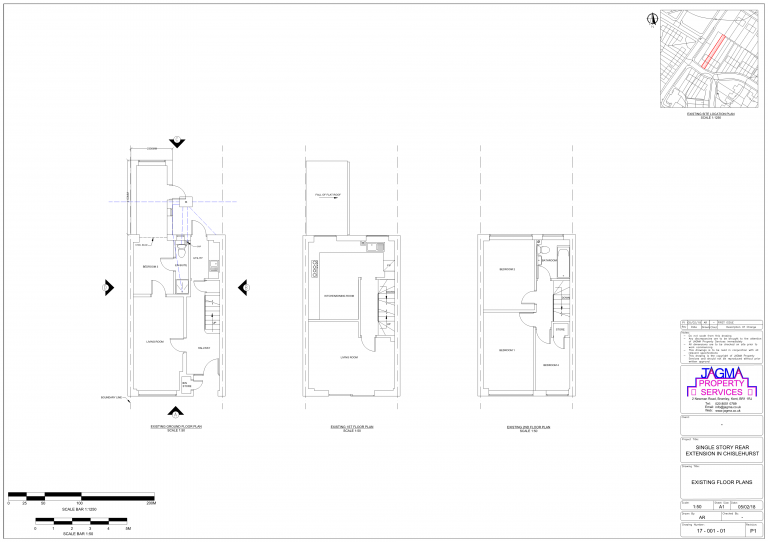 Existing Floor Plans for Single Story Rear Extension in Chislehurst