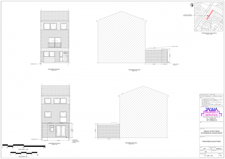 Proposed Elevations for Single Story Rear Extension in Chislehurst